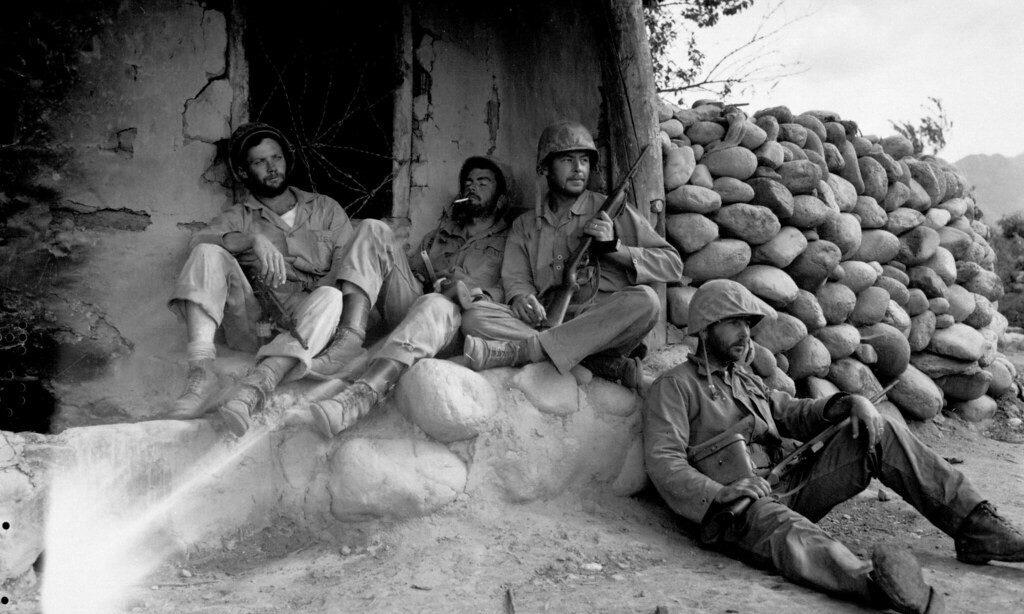1st Marine Divison in a Korean Hut After Destroying enemy sniper - September 24, 1951