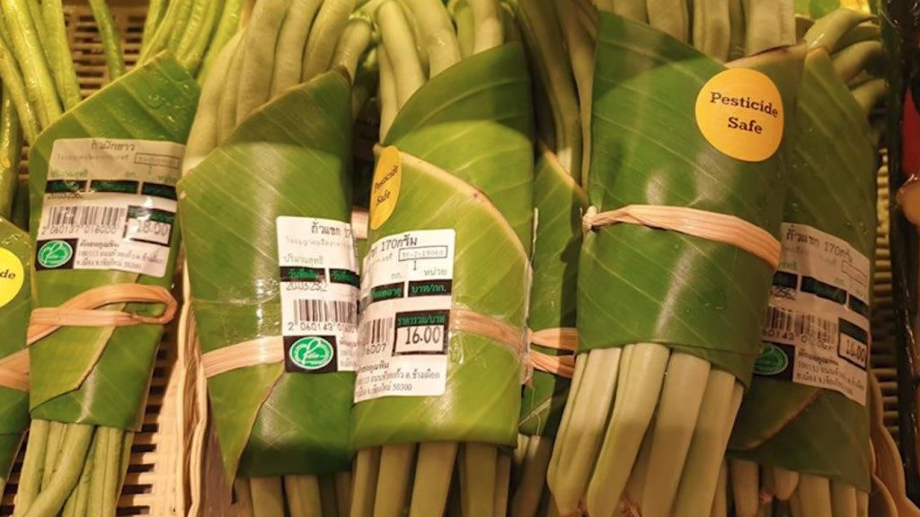 Produce wrapped in Banana Leaf and Straws