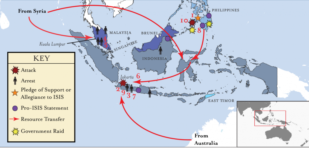 ISIS linked Activity in Southeast Asia map - 2016
