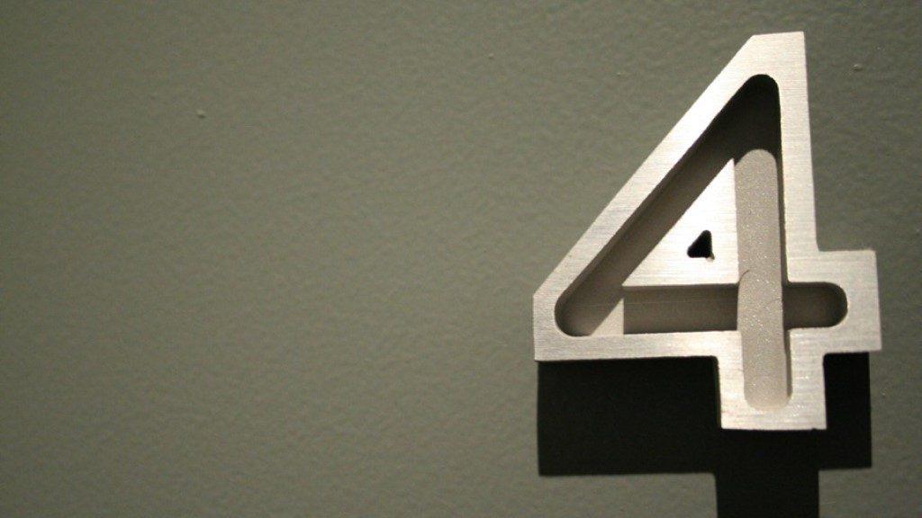 Number 4 - Door sign