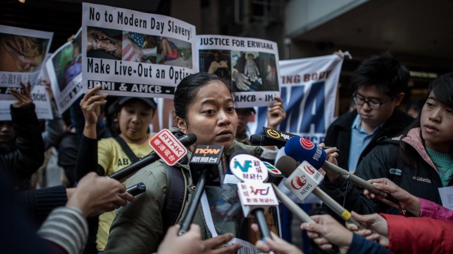 Protestor Answering Press | Hong Kong