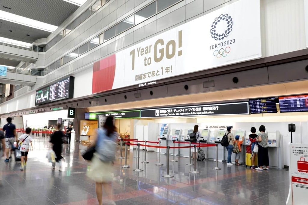 Tokyo 2020 - Haneda Airport Decorated to Celebrate 1 Year to Go
